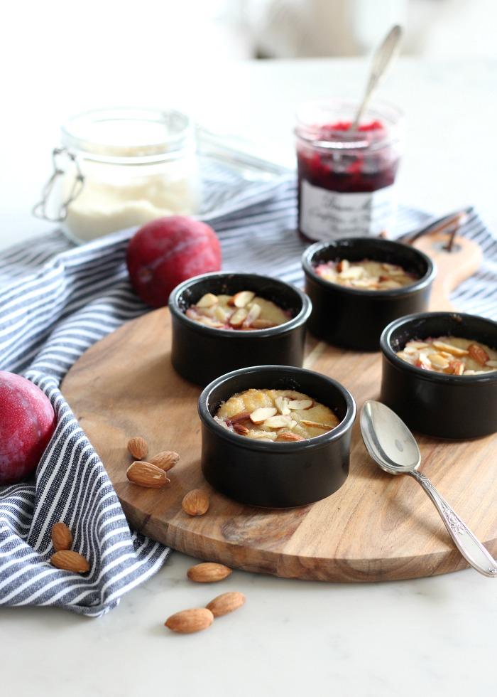 Gluten Free Plum Dessert Baked in Ramekins