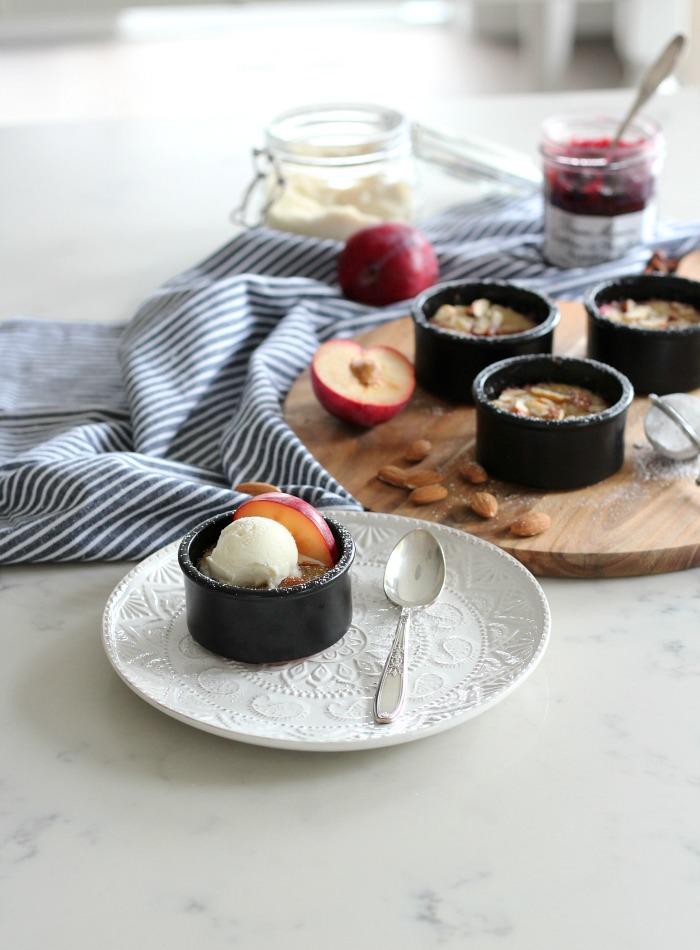 Crustless Plum Frangipane Dessert Recipe Baked in Ramekins