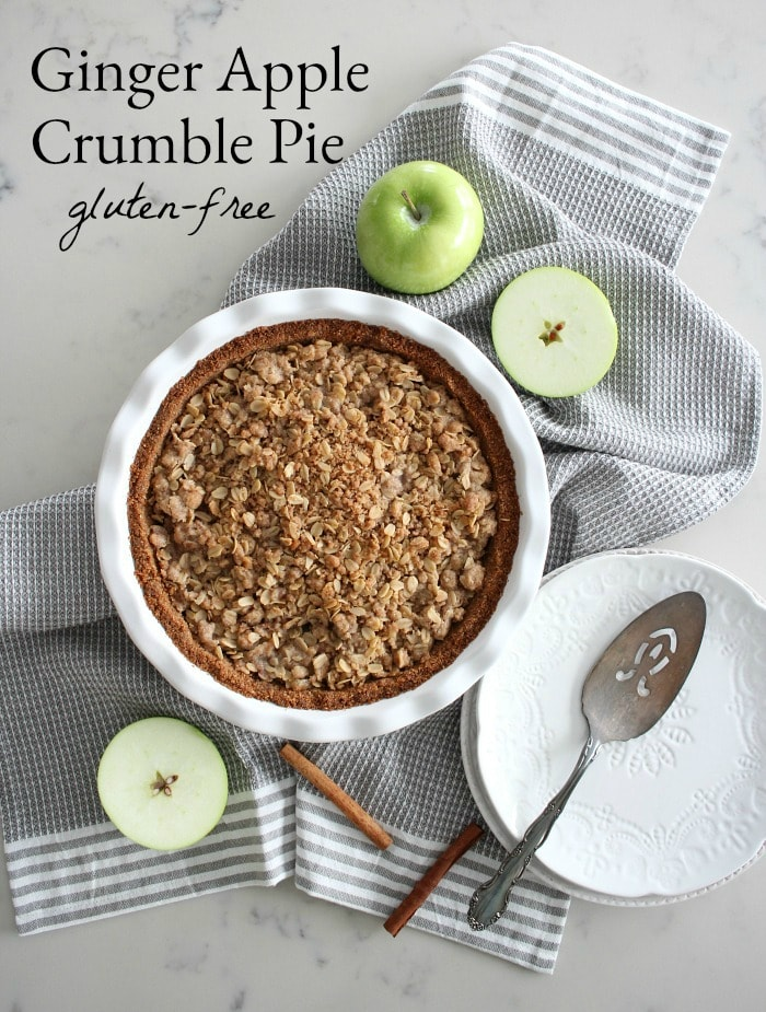 Ginger Apple Crumble Pie with Salted Caramel - Gluten Free Apple Pie Recipe