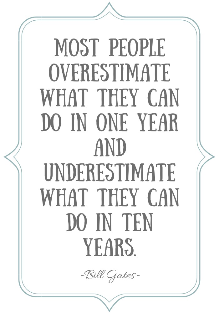 """""""Most people overestimate what they can do in one year and underestimate what they can do in ten years."""" Bill Gates Quote"""