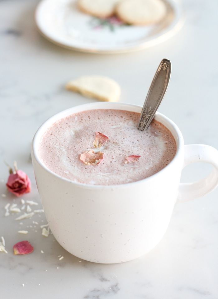 Pink Hot Chocolate for Valentine's Day with Fresh Strawberries and White Chocolate