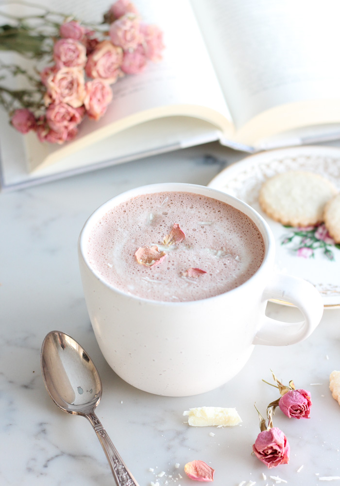 A Mug of Strawberry Hot Chocolate for Valentine's Day with Dried Rose Petals