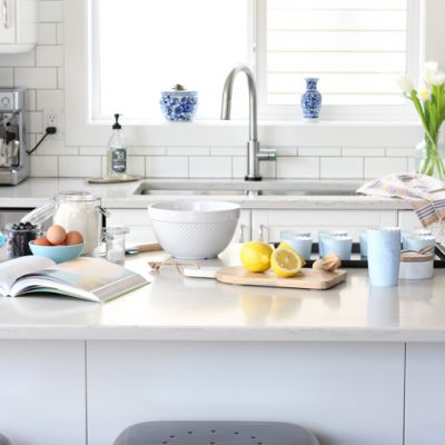 IKEA White Kitchen Makeover with Subway Tile Backsplash and Marble Quartz Countertop