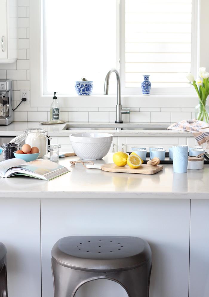 White Kitchen Makeover with IKEA Cabinets and Subway Tile Backsplash