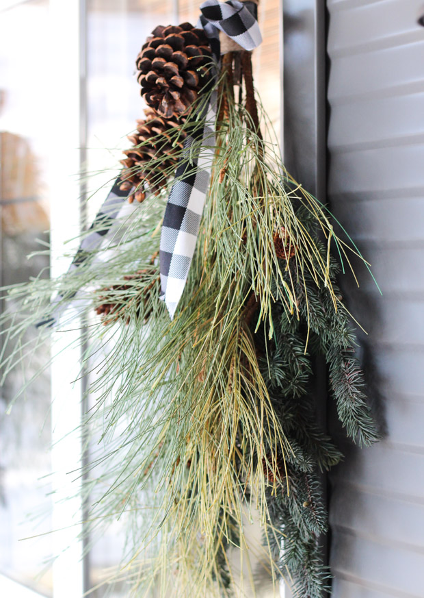 DIY Winter Swag Front Porch Decor