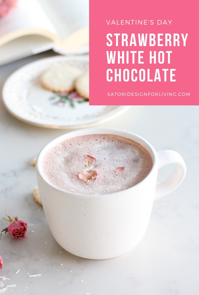Strawberry White Hot Chocolate Recipe for Valentine's Day