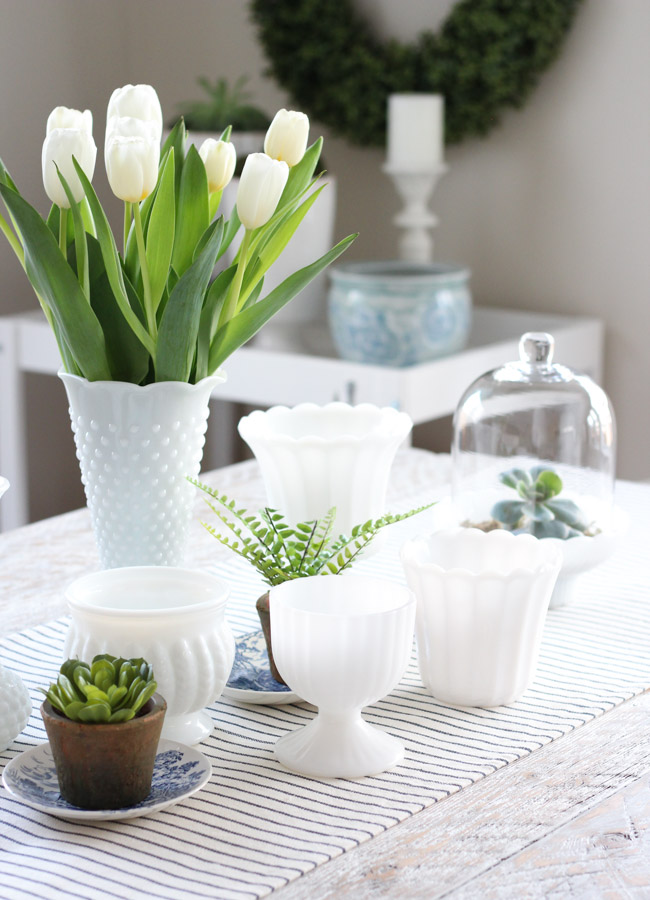 Spring Table Centerpiece with Milk Glass Vase and Tulips