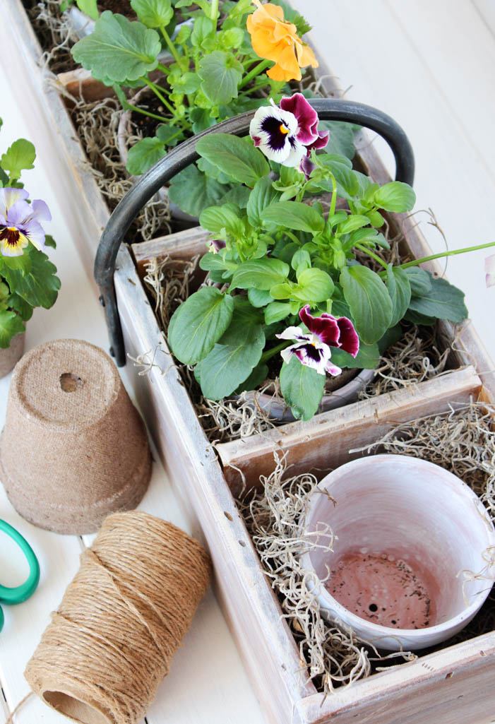 Wooden Tool Box Planter with Potted Pansies