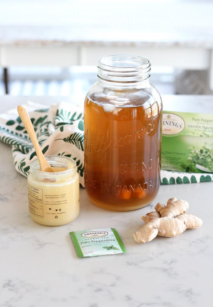 Ginger Mint Iced Tea in Jar