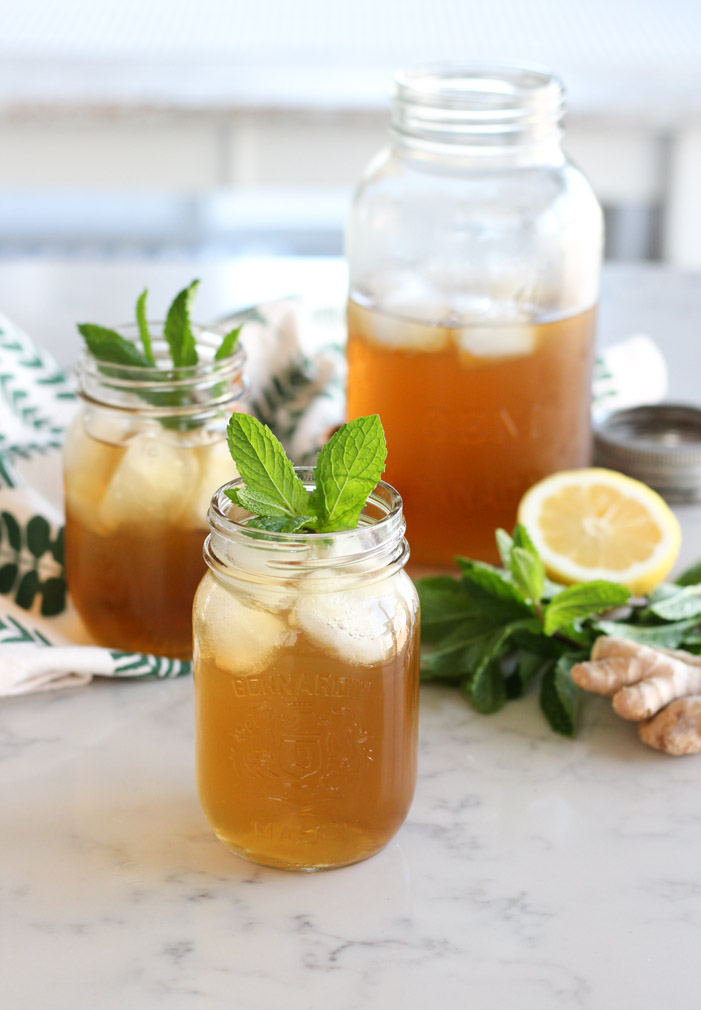 Homemade Iced Tea in a Jar with Fresh Ginger and Mint