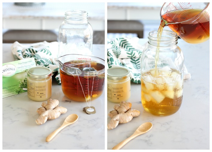 How to Make Ginger Mint Iced Tea in a Jar