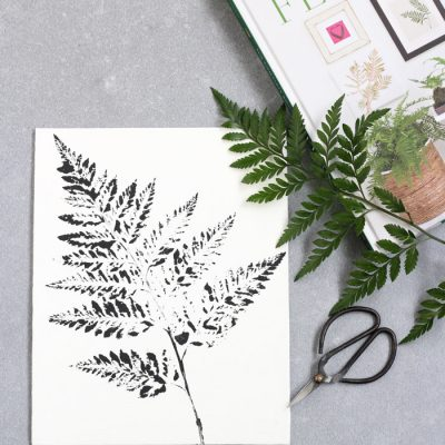 DIY Printed Fern Art - Black Leatherleaf Fern on White Canvas