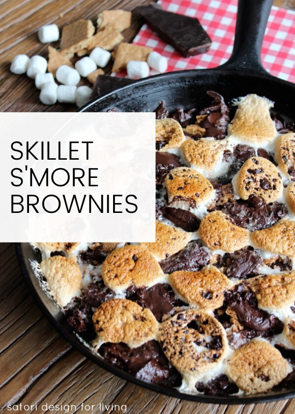 S'more Brownies in Cast Iron Skillet - Camping Dessert Recipe