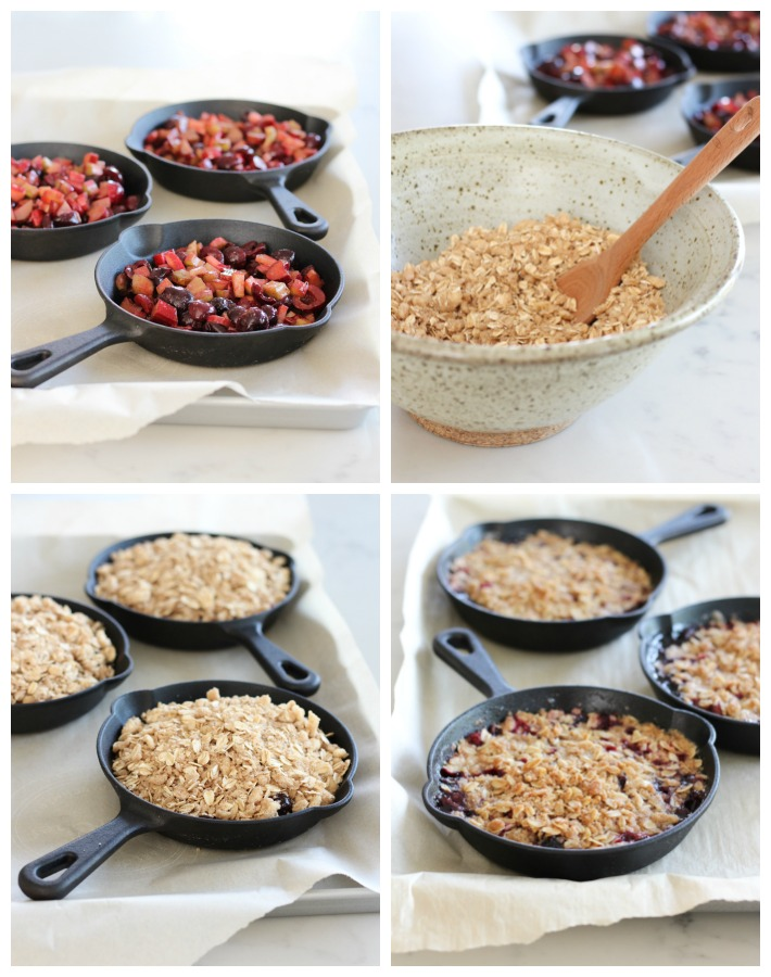 How to Make Cherry Rhubarb Crisp in Mini Cast Iron Skillets