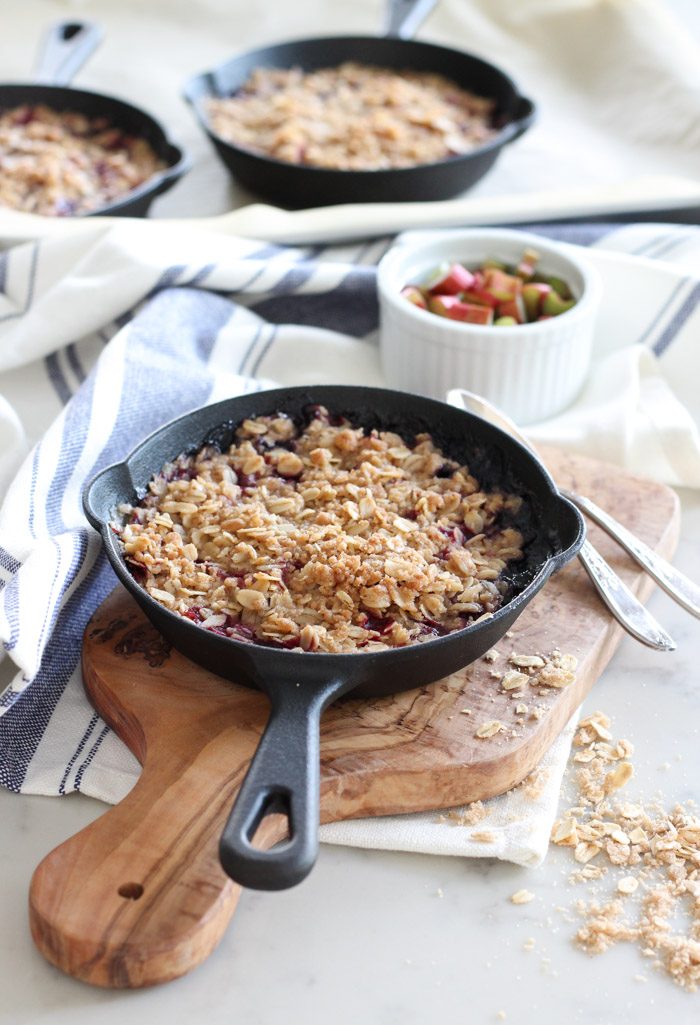 Cherry Rhubarb Crisp Baked in Mini Cast Iron Skillets